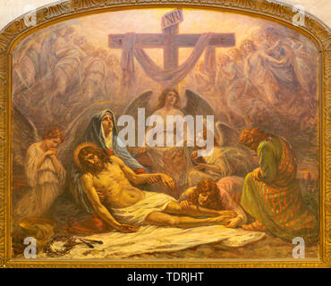 CATANIA, ITALY - APRIL 7, 2018: The painting of Deposition of the Cross (Pieta) in church Chiesa San Nicolo by Alessandro Abate (1927). - Stock Image