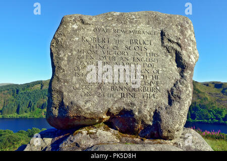 Bruce's Stone, Commemorative stone to Robert the Bruce, King of Scots, at Loch Trool, Galloway Forest Park, Scotland - Stock Image