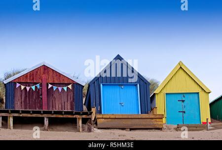 Beach huts at Abersoch, Gwynedd, Wales - Stock Image