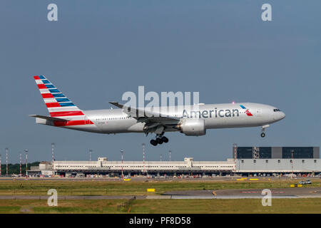 American Airlines, Boeing 777 at Malpensa airport, Milan, Italy - Stock Image