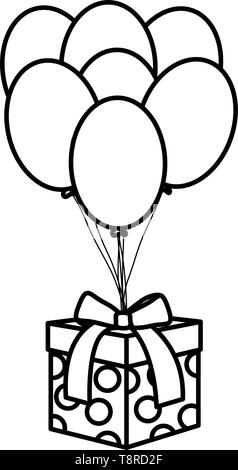gift box with balloons helium floating vector illustration design - Stock Image
