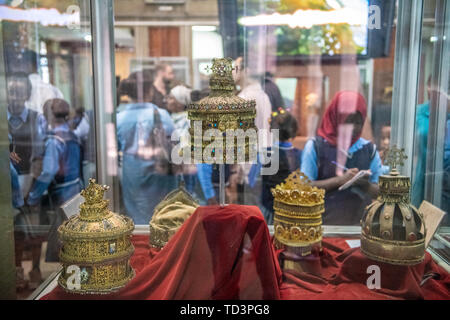 A selection of royal crowns within the National Museum of Ethiopia, Addis Ababa, Ethiopia. - Stock Image
