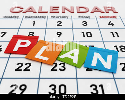 Plan word on colored note papers standing on calendar page. 3D illustration. - Stock Image