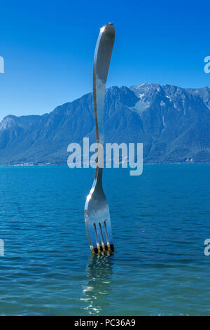 the fork sculpture in Vevey - Stock Image