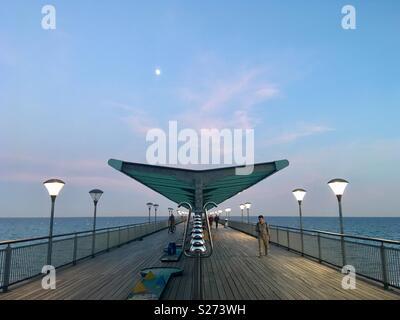 Boscombe Pier at night - Stock Image