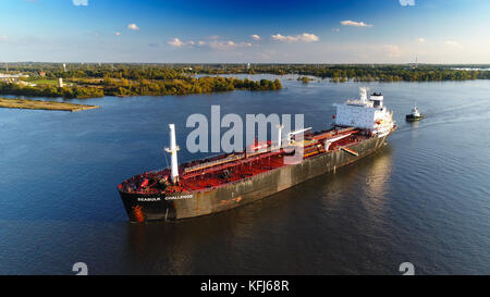 Oil Chemical Tanker on River - Stock Image