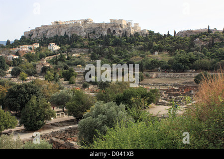 View to The Parthenon Acropolis Athens - Stock Image