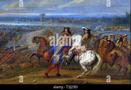 Crossing the Rhine, 1672, Adam Frans van der MEULEN,  1632 – 1690 Belgian, Belgium, Flemish, (King Louis XIV - Dutch War (1672–1678) the crossing of the Rhine by the royal army on 12 June 1672. ) France, French. - Stock Image