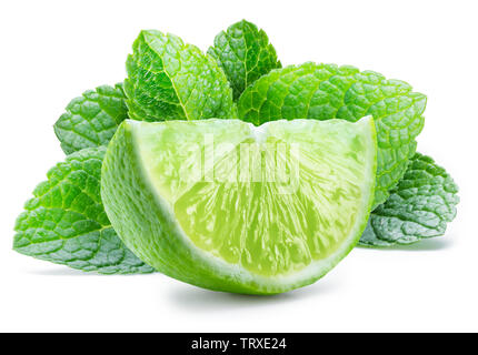 Lime fruit and mint leaves isolated on the white background. - Stock Image
