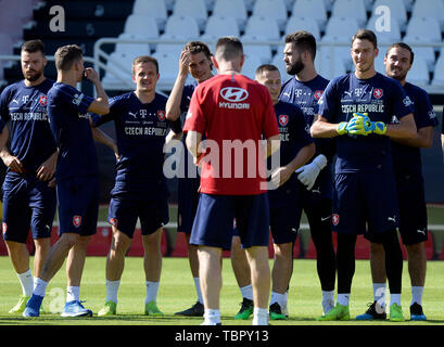 Prague, Czech Republic. 03rd June, 2019. Players of the Czech Republic national soccer team attend the training prior to the European Championship qualifiers with Bulgaria (Prague on June 7) and Montenegro (Olomouc, north Moravia, on June 10) in Prague, Czech Republic, June 3, 2019. Credit: Katerina Sulova/CTK Photo/Alamy Live News - Stock Image