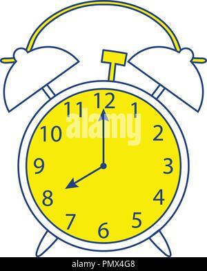 Icon of Alarm clock. Thin line design. Vector illustration. - Stock Image