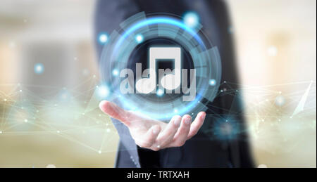 businessman hand with digital technology music concept - Stock Image