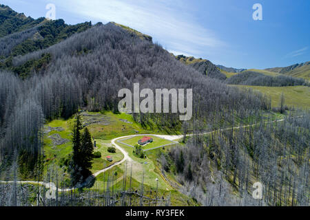 Historic Skippers School House, Skippers Canyon, Queenstown, South Island, New Zealand - aerial - Stock Image