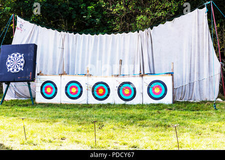 Archery, bullseye, archery targets, targets, target, archery target, archery net, archery club, arrow targets, shooting targets, shooting target, - Stock Image