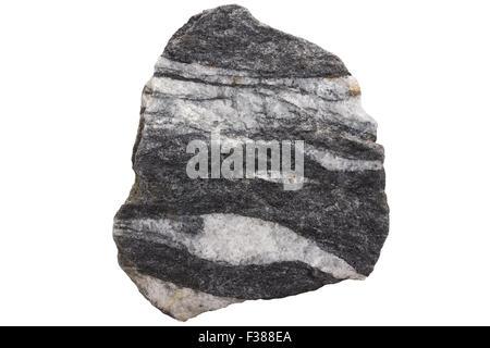 Amphibolite with quartz veins - Stock Image