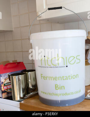 Plastic fermentation bin for home brew beer Woodforde's Wherry real ale kit, England, UK - Stock Image