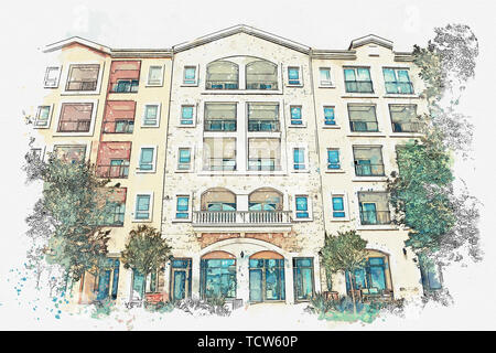 Watercolor sketch or illustration of a view of a modern apartment building. - Stock Image