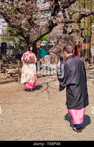 25 March 2019: Tokyo, Japan - Man photographing woman under cherry blossom in the grounds of the Asakusa Buddhist shrine in Tokyo; both are wearing... - Stock Image