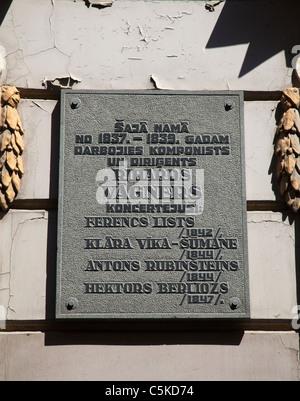 Riga Latvia old town Richard Wagner memorial stone - Stock Image