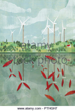 Wind turbine blades reflected as leaves in lake - Stock Image