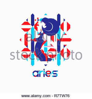 Fashion model in geometric pattern as aries zodiac sign - Stock Image