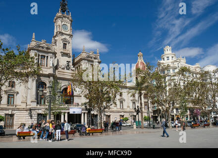 Front facade of Ayuntamiento de Valencia (City Town Hall), Plaza del Ayuntamiento, Valencia, Spain. - Stock Image