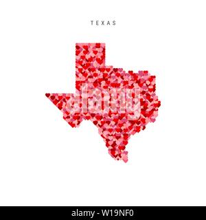 I Love Texas. Red Hearts Pattern Vector Map of Texas - Stock Image