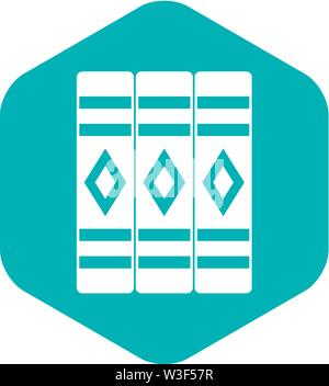 Three literary books icon, simple style - Stock Image
