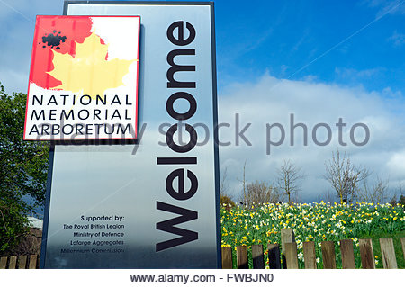 National Memorial Arboretum - Welcome signage at the entrance. Near Lichfield, Staffordshire, UK. - Stock Image