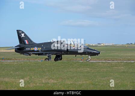 RAF T1A Hawk advanced training aircraft at RAF Lossiemouth. Moray, Scotland. - Stock Image