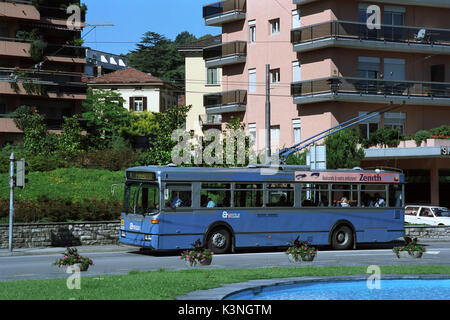 Lugarno Single Deck Trolleybus -1 - Stock Image