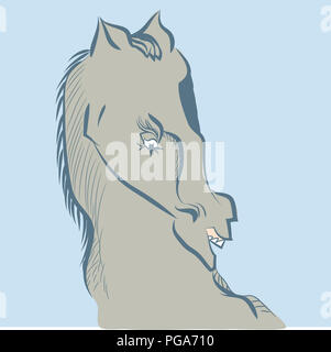 Wild horse head.  illustration of angry horse screaming. - Stock Image