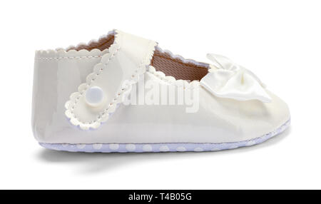 Girls Baby Dress Shoe Side View Isolated on White. - Stock Image