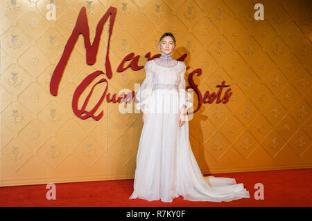 London, UK. 10th Dec 2018. Saoirse Ronan at Mary Queen Of Scots European Premiere on Monday 10 December 2018 held at Cineworld Leicester Square, London. Pictured: Saoirse Ronan. Credit: Julie Edwards/Alamy Live News - Stock Image