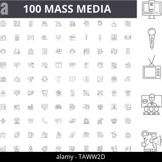 Mass media line icons, signs, vector set, outline illustration concept  - Stock Image