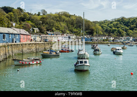 Abergwaun, or Lower Fishguard, on the Pembrokeshire coast. Known for being a key location for Under Milk Wood. Pretty coastal village and harbour - Stock Image