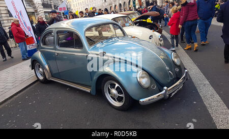 Regent Street, London 3 November 2018 - A collection of Beetles to mark Beetle's 80th birthday at the Motor Show on Regent Street. London's premier shopping destination was transformed into the country's biggest free-to-view motor show as Regent street was pedestrianised for the days event on 3 November. The show included electirc cars, to vintage and classic cars and attracted more than 500,000 visitors. Credit: David Mbiyu /Alamy Live News - Stock Image