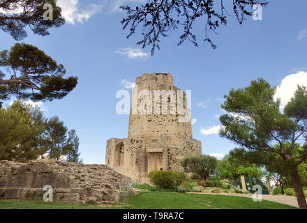 Historic monument, Tour Magne, Magne Tower, in the Fountain Gardens, Nîmes, France. The Tour Magne, or the Great Tower, is the only remnant of the anc - Stock Image