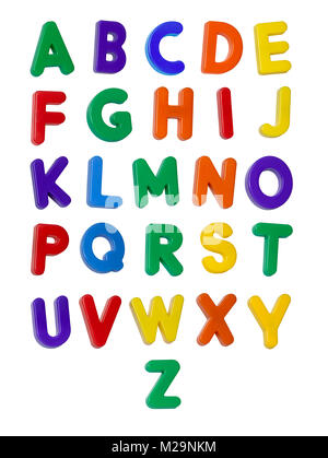 A colourful alphabet made up of plastic letters - Stock Image