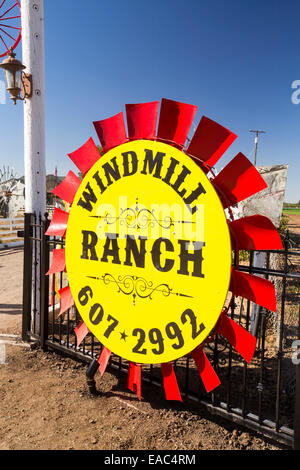 A collection of old windpump blades at windmill ranch in the Central Valley, California, USA. - Stock Image