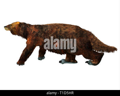 Megatherium Sloth was a herbivorous Giant Ground Sloth that lived in Central and South America during the Pliocene and Pleistocene Periods. - Stock Image