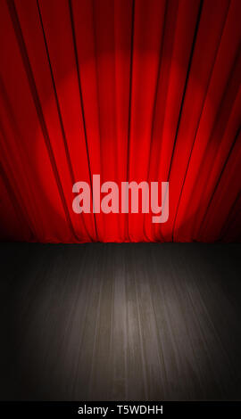 closed theater red curtain and wooden stage or scene top view - Stock Image