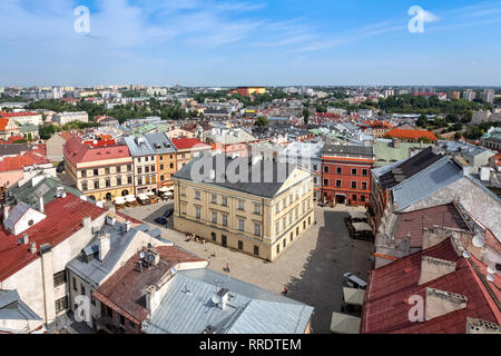 Lublin, Poland. Aerial view of The Old Town Market Square - Stock Image