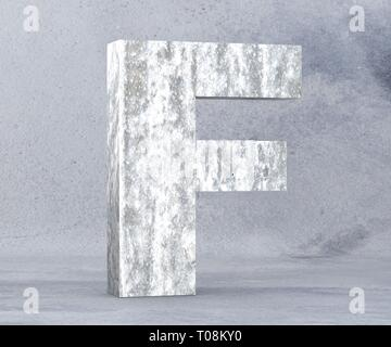Concrete Capital Letter - F isolated on white background. 3D render Illustration - Stock Image