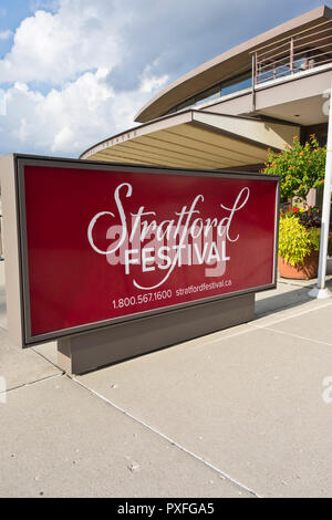 Stratford Festival sign outside the Festival Theatre in Stratford Ontario Canada. - Stock Image