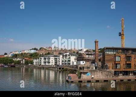 New apartment blocks along Floating Harbour, Bristol, UK - Stock Image