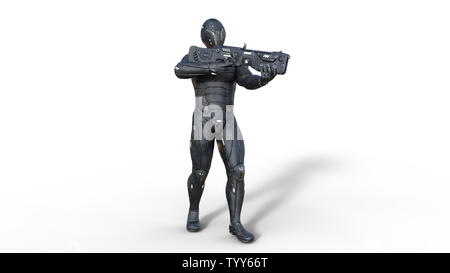 Futuristic android soldier in bulletproof armor, military cyborg armed with sci-fi rifle gun standing and shooting on white background, 3D rendering - Stock Image