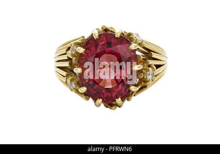 Gem Tourmaline Diamond Set Ring Front View 7.17 Carats, Main Stone 12.5X10mm - Stock Image