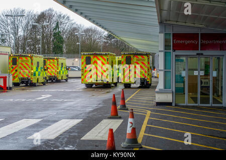 Ambulances Queuing Outside the Emergency Department - Broomfield Hospital, Court Road, Broomfield, Chelmsford, Essex, - Stock Image