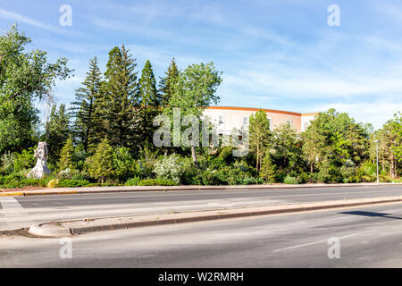 Santa Fe, USA - June 14, 2019: Capitol building in downtown center of city with empty road street - Stock Image